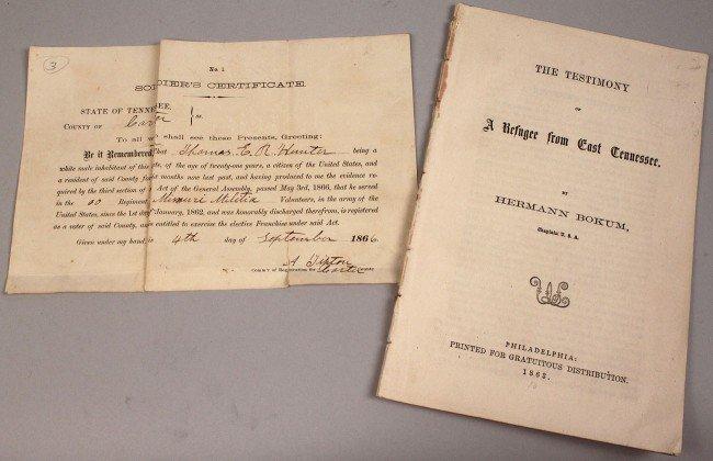 7: Lot of 2 East Tennessee  Civil War era documents