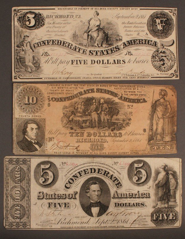 8: Confederate currency, 3 pcs, 3rd issue