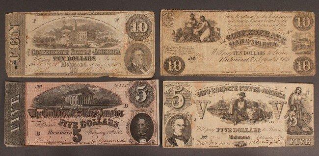 9: Confederate currency, 4 pcs
