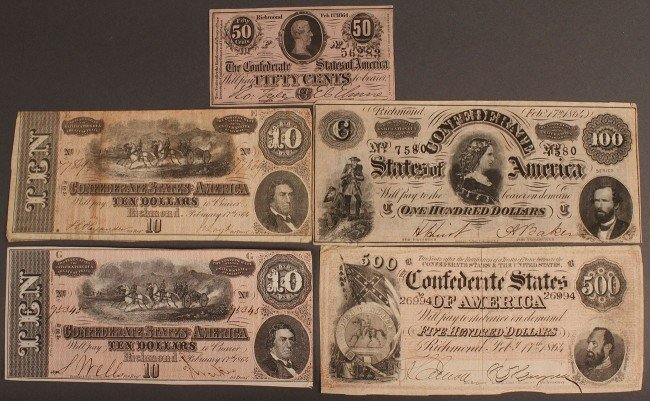 10: Confederate currency, 5 pcs, 7th issue