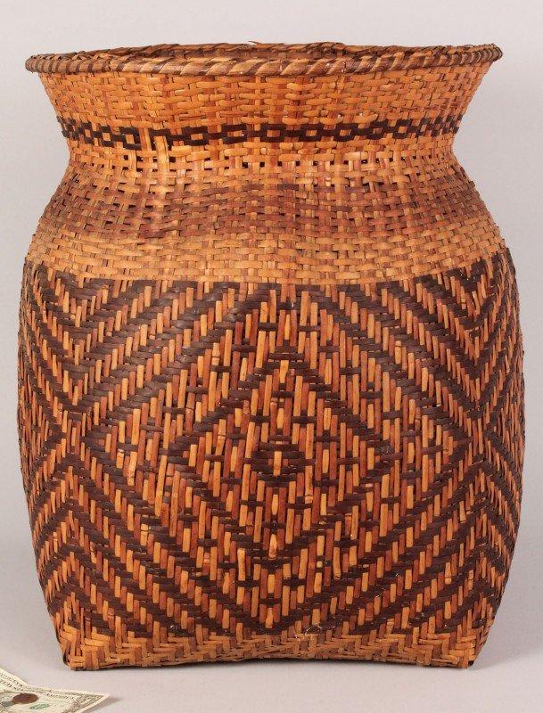 "13: Large Cherokee rivercane storage basket, 19"" Height"