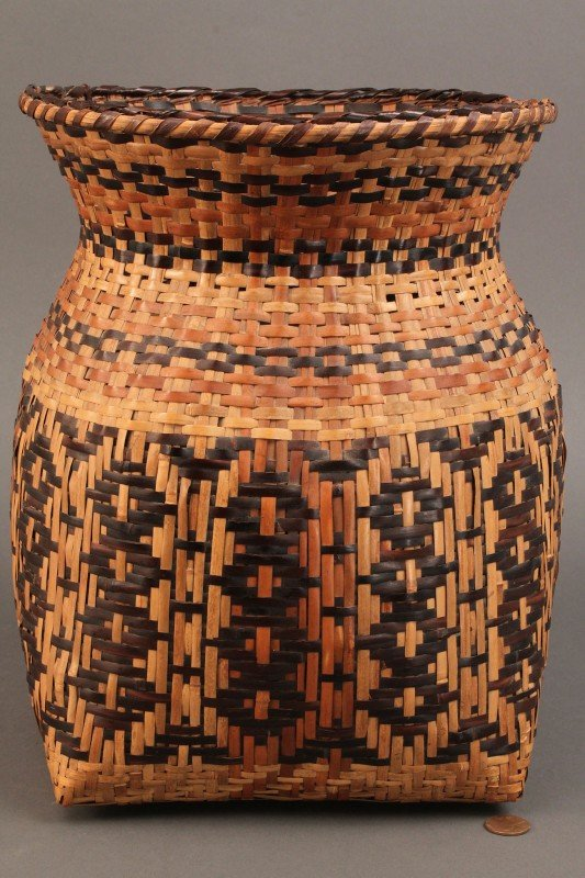 "14: Cherokee Rivercane Storage Basket, 12"" Height"
