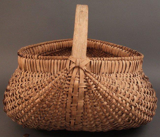 15: Large splint oak buttocks basket, NC or TN