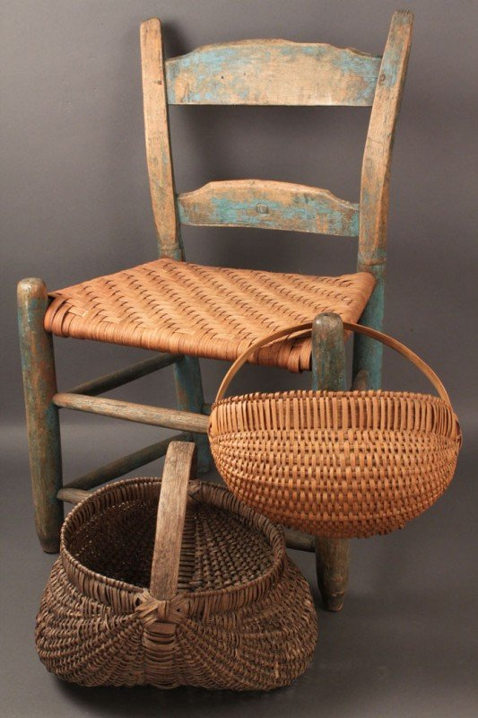 17: East TN childs chair and TN baskets, 3 pcs.