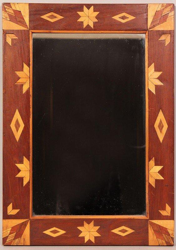 19: Folk Art/Tramp Art Inlaid Mirror