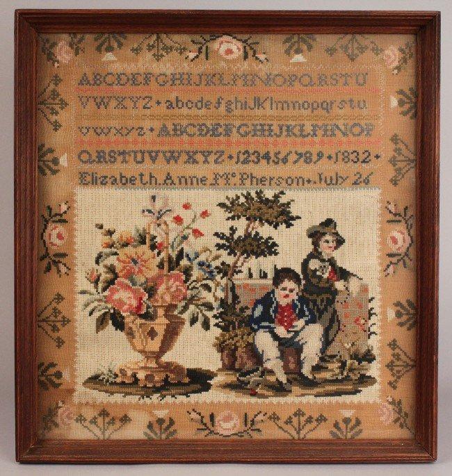 22: Canadian silk & wool needlework sampler, 1832