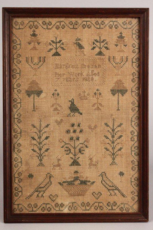 23: 1828 Needlework sampler, Margrett Brenan