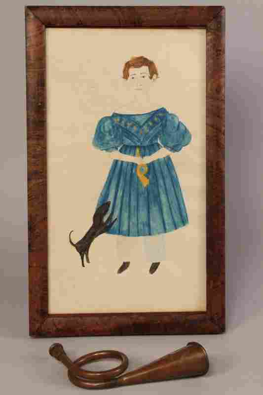 E. TN folk art portrait, Timothy Chandler & horn