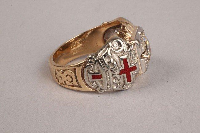 101: Masonic gold and diamond ring, 1.75 ct - 3