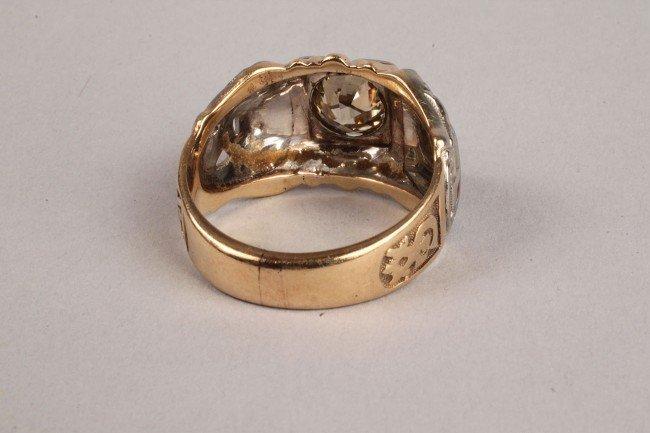 101: Masonic gold and diamond ring, 1.75 ct - 4