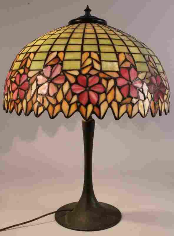 Art Nouveau Leaded Glass Dome Lamp, pink flowers