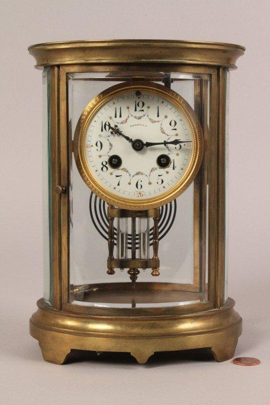 191: Tiffany & Co. Brass & Glass Mantel Clock