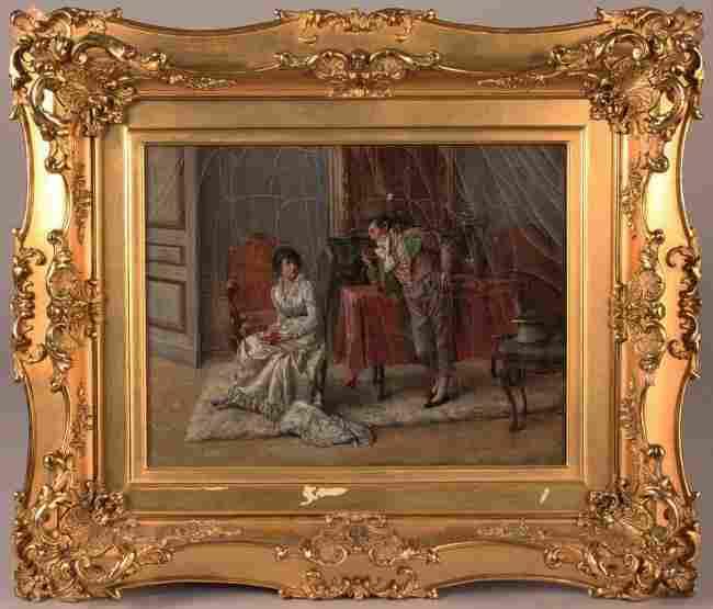 337: Jeno Kemendy oil on canvas, Genre Scene