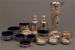 401 Lot of 15 Assd Silver Salt Dips  Vase