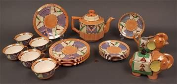 521: Japanese Art Deco Porcelain Service, 20 pieces