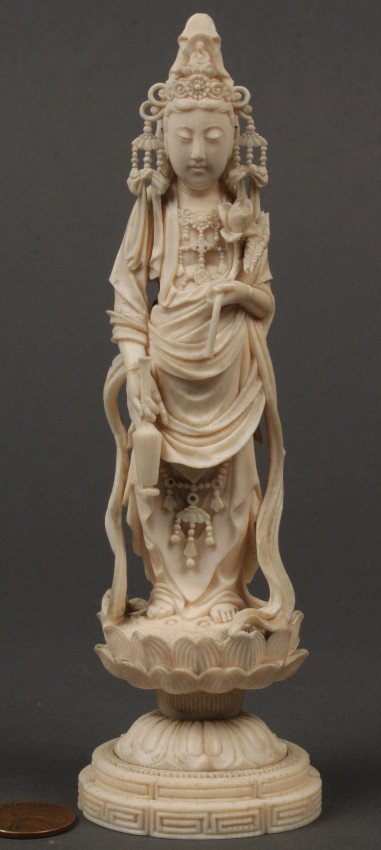 4: Oriental carved ivory figure of Quan Yin