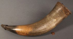 18th Century Philadelphia Carved Powder Horn