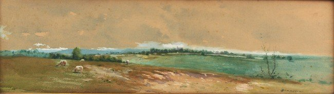 74:  Lloyd Branson watercolor, panoramic landscape