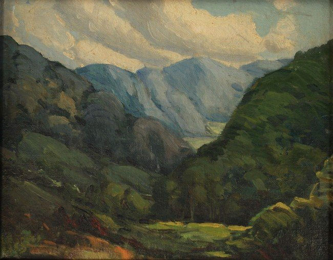 76: Louis Jones oil on board, Mountain Landscape