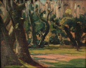 Louis Jones Oil On Board, Meadow Landscape