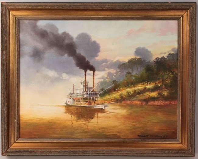 79: Robert Rucker Oil on Canvas, Steamboat at Sunset
