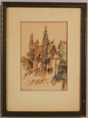 George C. Aid Watercolor Of Tudor House