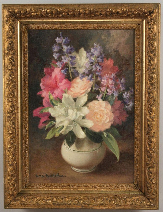 83: George Hoffman, oil on canvas floral still life