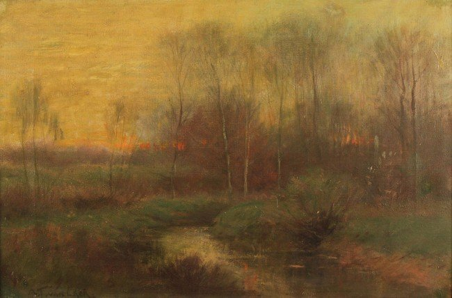 84: Alexander Van Laer, oil on canvas, Sunset Landscape