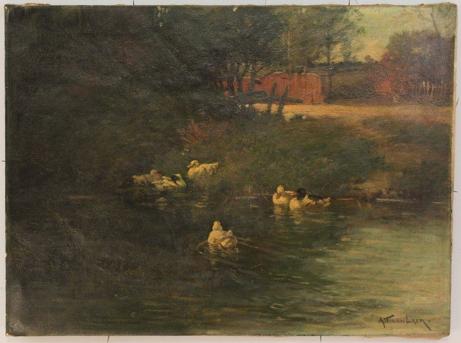 85: Alexander Van Laer, oil on canvas, Ducks in Stream