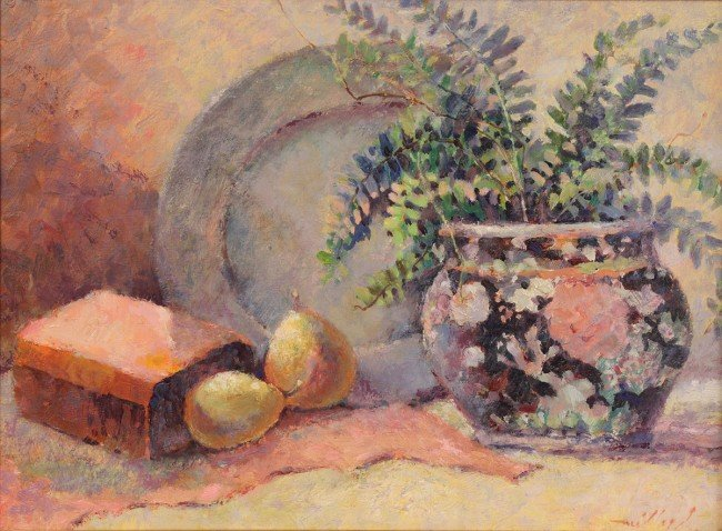 86: David Millard oil on board still life