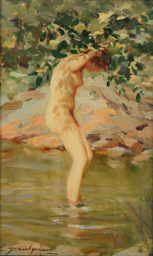 89: Lucien Henri Grandgerard oil on board, Female Nude