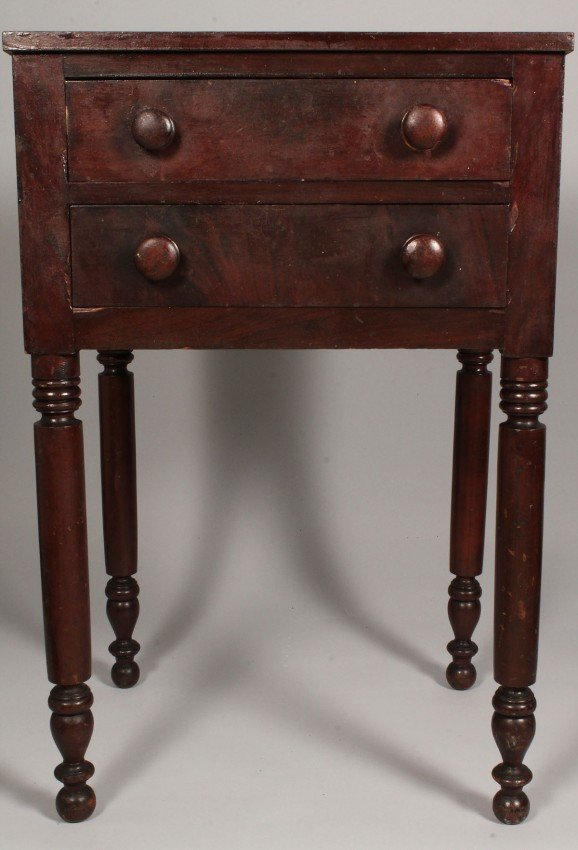 92: Tennessee Cherry 2 Drawer Table, J. N. Lonas histor