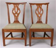 109 Pair of British  Chippendale Side Chairs w MESDA