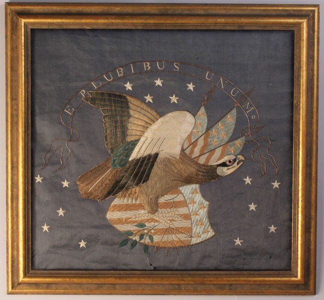 184: Federal Eagle Silk Embroidered Picture