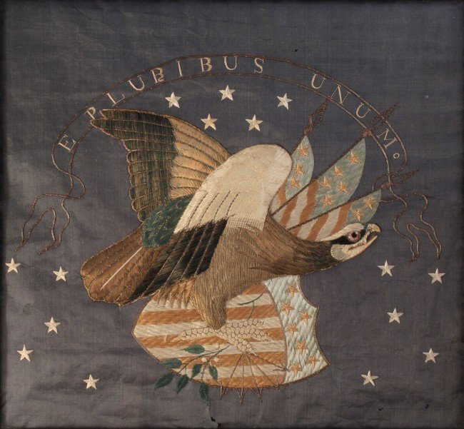 184: Federal Eagle Silk Embroidered Picture - 2
