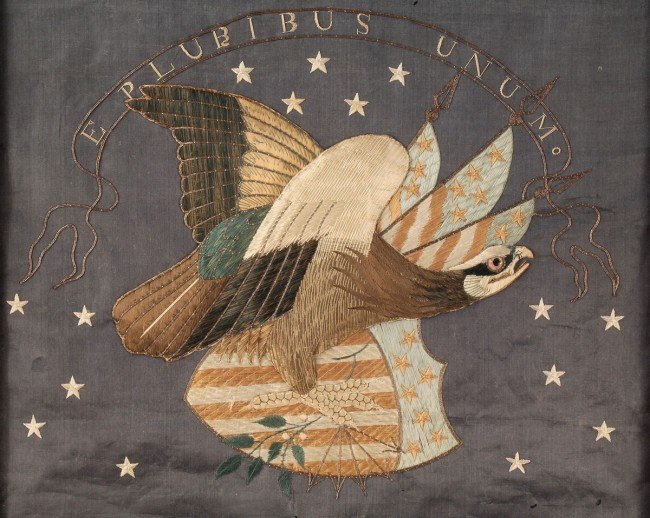 184: Federal Eagle Silk Embroidered Picture - 3