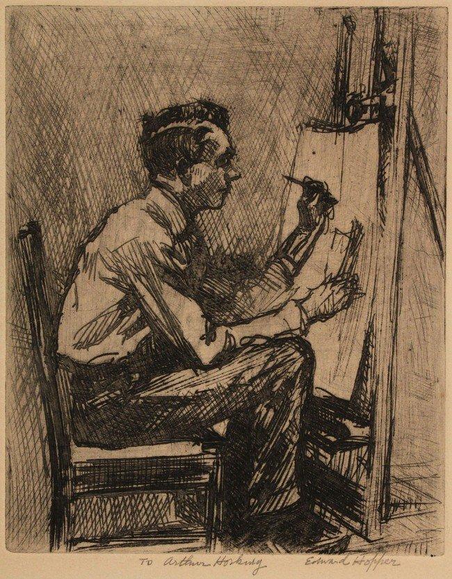"""210: Edward Hopper Etching, """"The Illustrator"""""""
