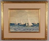 Large Julius Delbos watercolor, Sailing Scene