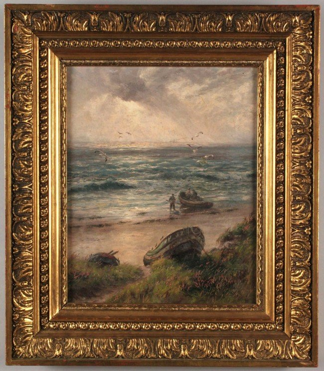 220: J. R. Miles, Oil on canvas, Seascape with fisherme
