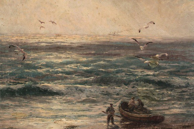 220: J. R. Miles, Oil on canvas, Seascape with fisherme - 4
