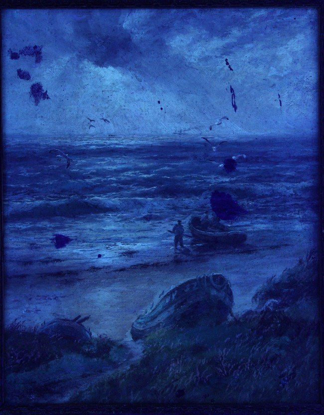 220: J. R. Miles, Oil on canvas, Seascape with fisherme - 7