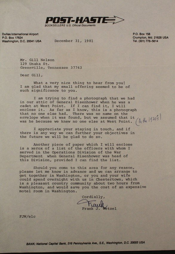 589: Dwight Eisenhower photo and letter - 2
