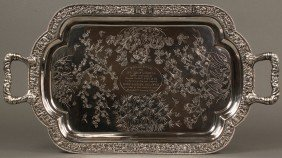 Chinese Export Silver Presentation Tray