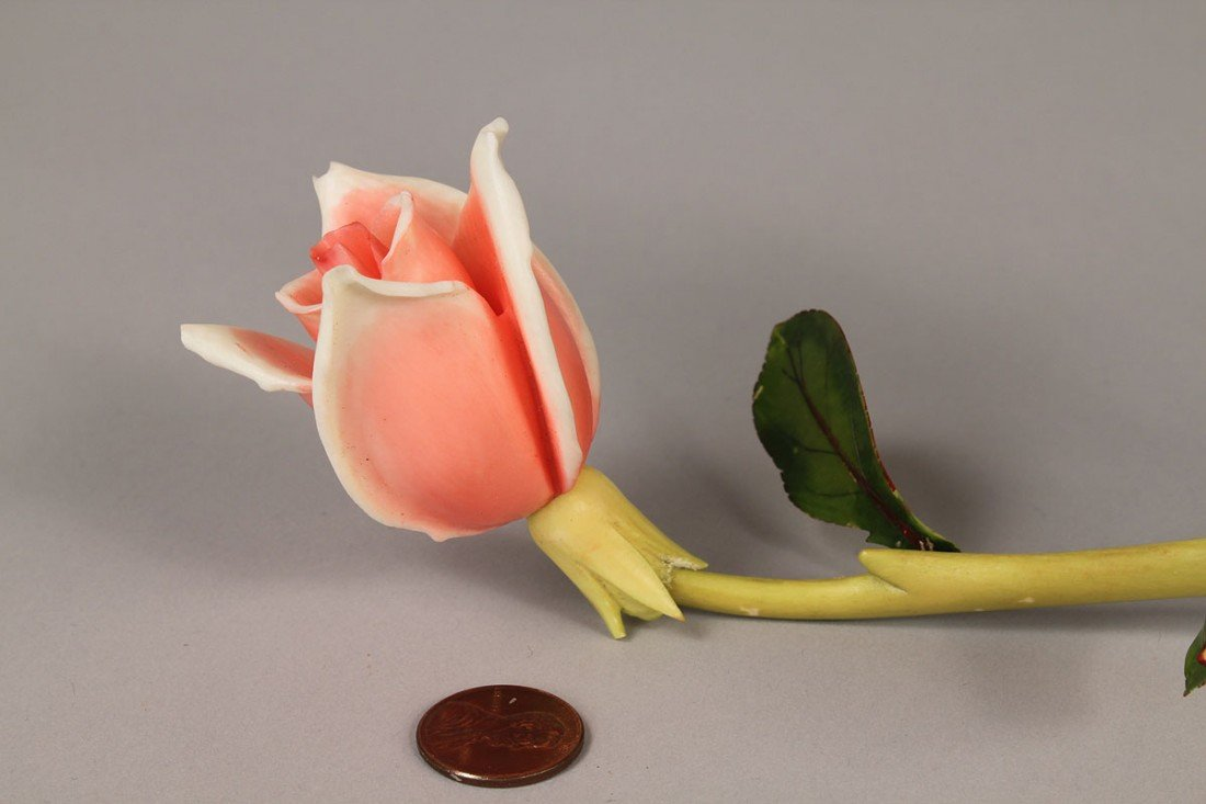 3: Asian Stained Ivory Carving of Rose and Vine - 10