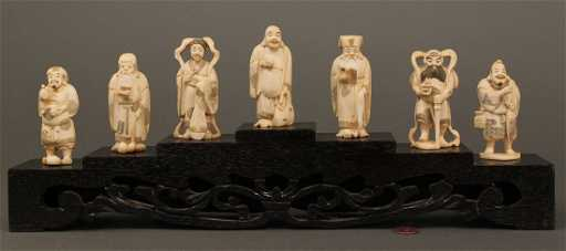 7 Chinese Carved Ivory Set Seven Lucky Gods