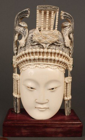 8: Chinese Carved Ivory Empress w/ phoenix headdress