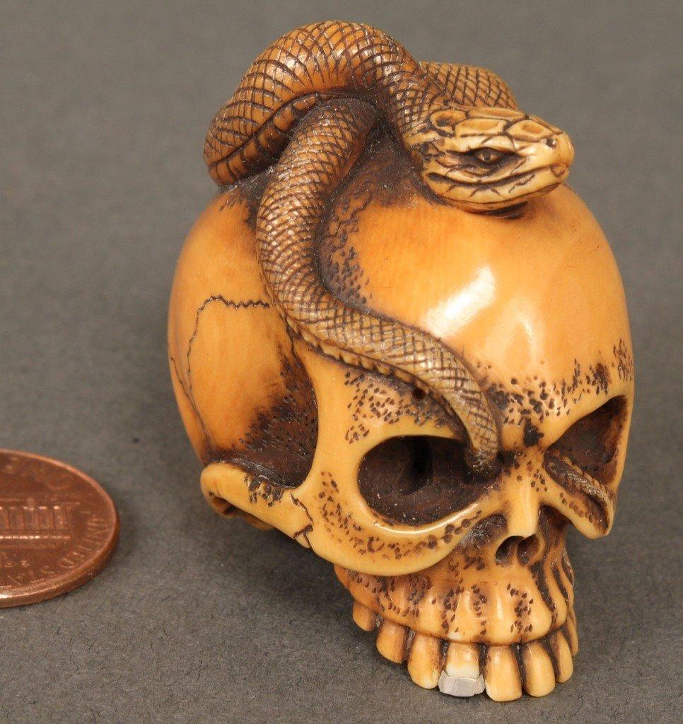 11: Japanese Ivory Netsuke, Skull & Snake