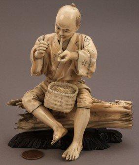 Ivory Okimono Figure, Man Smoking A Pipe