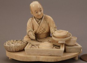 14: Ivory Okimono figure, man cooking