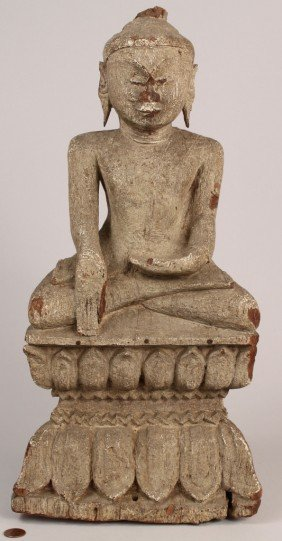 21: Asian Carved Buddha Figure, Painted